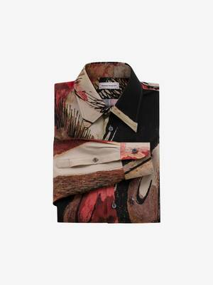 Camicia in popeline di seta con stampa Henry Moore
