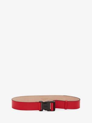 Cintura in vitello rosso gallese con fibbia a scatto.