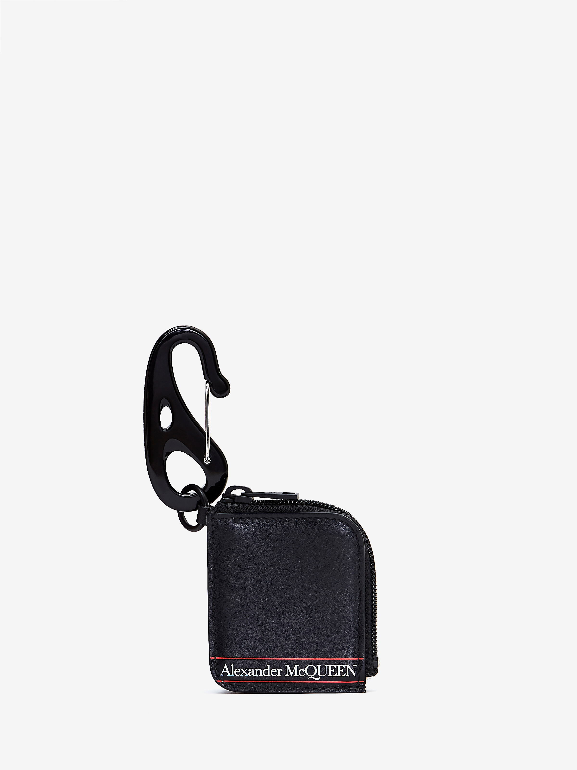 Alexander Mcqueen Man Airpod Case With  Selvedge Logo In Black/red