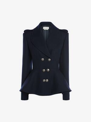 Peplum Harringbone Peacoat