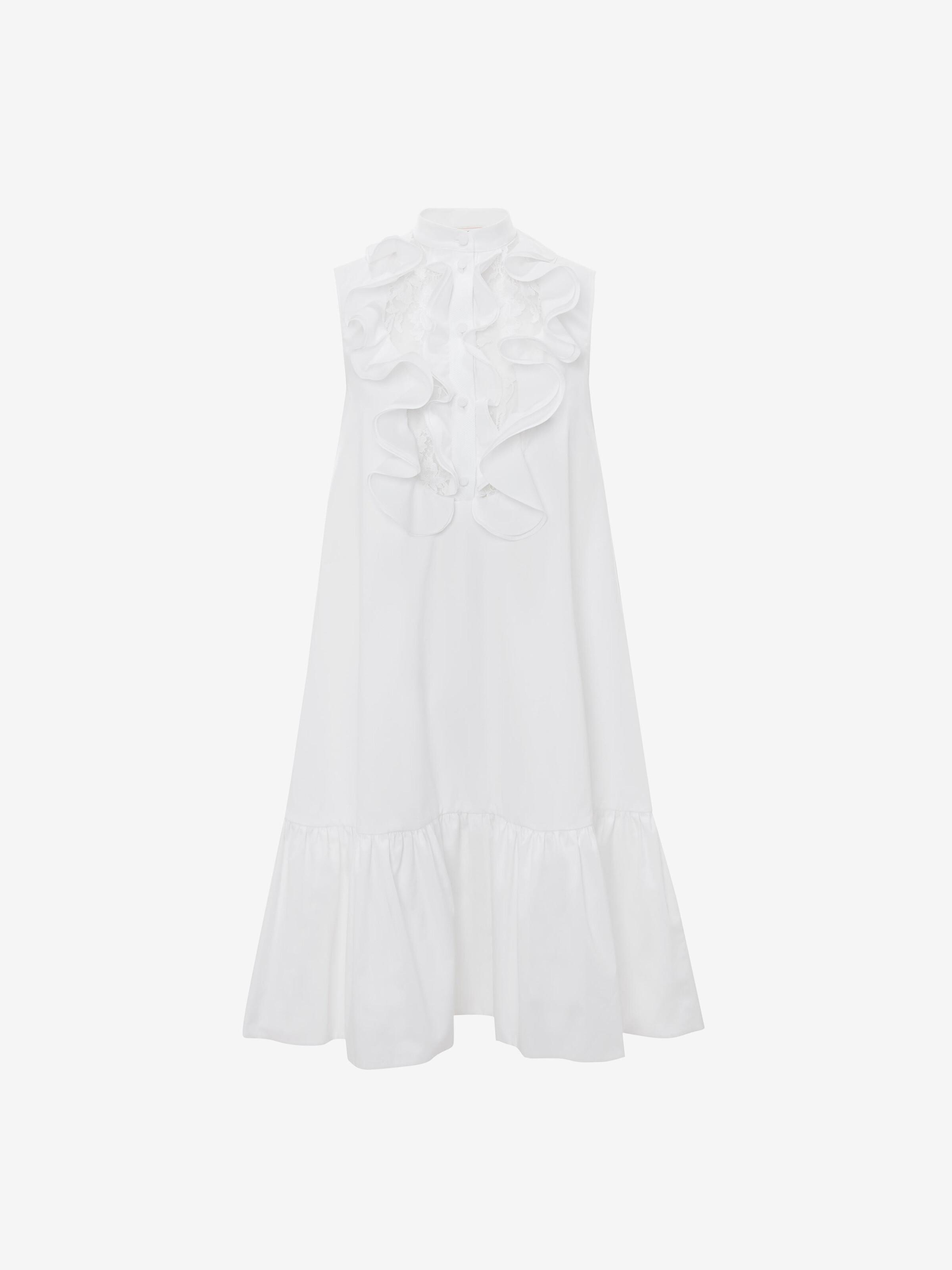 Alexander Mcqueen Lace Cotton Poplin Mini Dress In Optical White