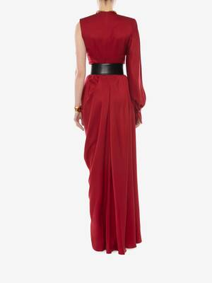One-Sleeve Satin Evening Dress