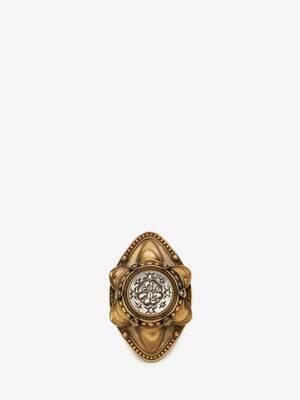 Bague avec ornement sceau représentant une rose