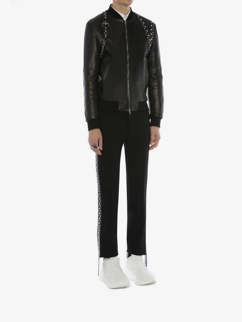 Display a large version of the product image 3 - Studded Harness Leather Bomber Jacket