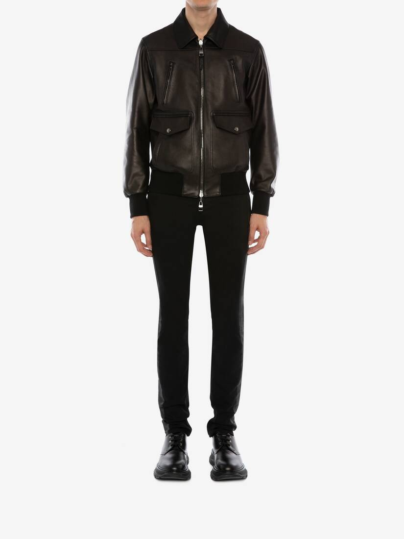 Display a large version of the product image 2 - Reversible Leather Bomber Jacket