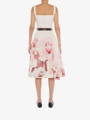 로즈 체크 미디 드레스