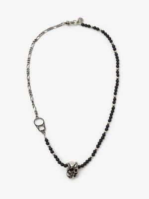Beads and Skull Short Necklace