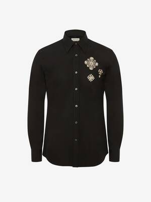 Embroidered Pearl Patches Shirt