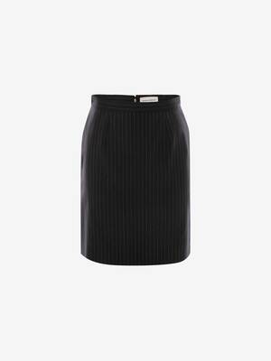 Pinstripe Kickback Mini Skirt