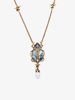Double-Wrap Beetle Necklace