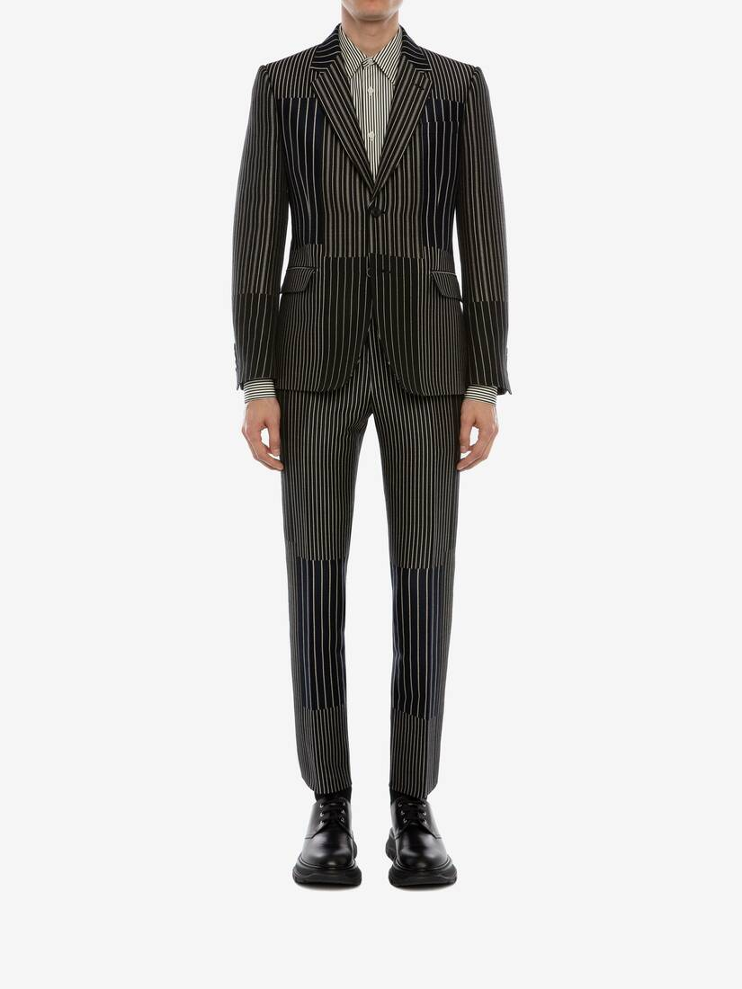 Display a large version of the product image 2 - Patchwork Pinstripe Jacket