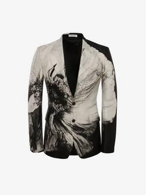 Flower Print Wool Silk Jacket