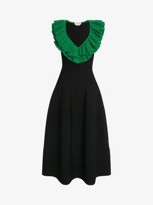 Sculptural Ruffles Knit Midi Dress