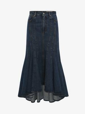 Denim Panelled Midi Skirt