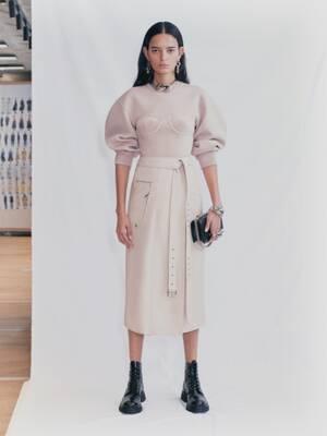 Pull en laine façon corset à coutures ottoman