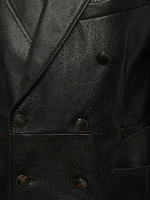 Leather Double Breasted Jacket