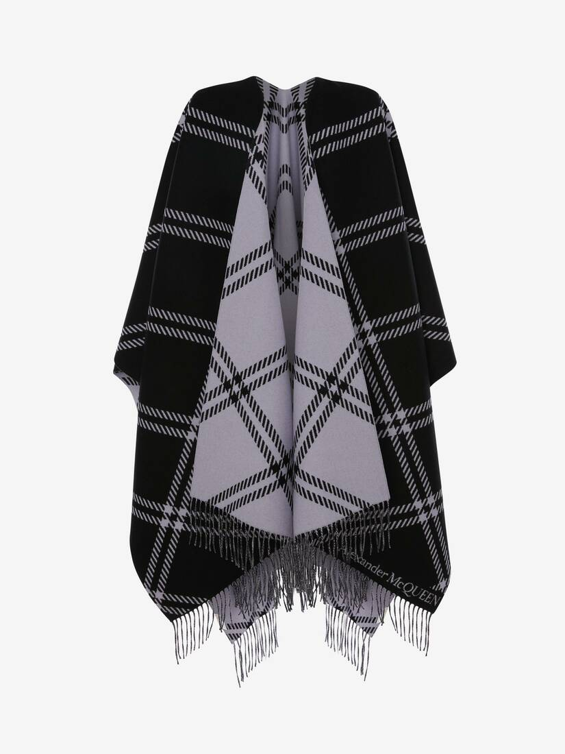 Display a large version of the product image 2 - Welsh Check Wool Jacquard Cape