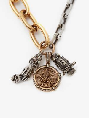 Collier à chaîne long avec médaillons
