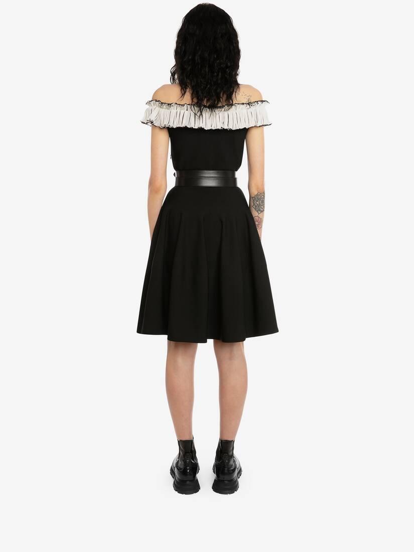 Off-The-Shoulder Ruffles Knit Mini Dress