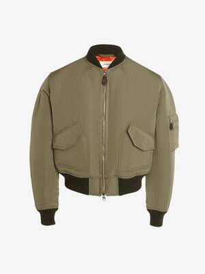 McQueen Graffiti Cropped Bomber Jacket