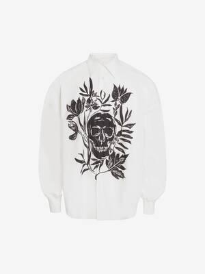 Skull Leaf Print Dropped Shoulder Poplin Shirt