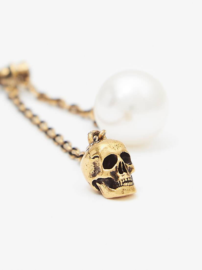 Pearl-like Skull Chain Drop Earring