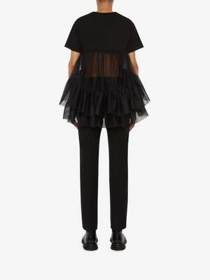 Cotton Jersey Tulle T-Shirt