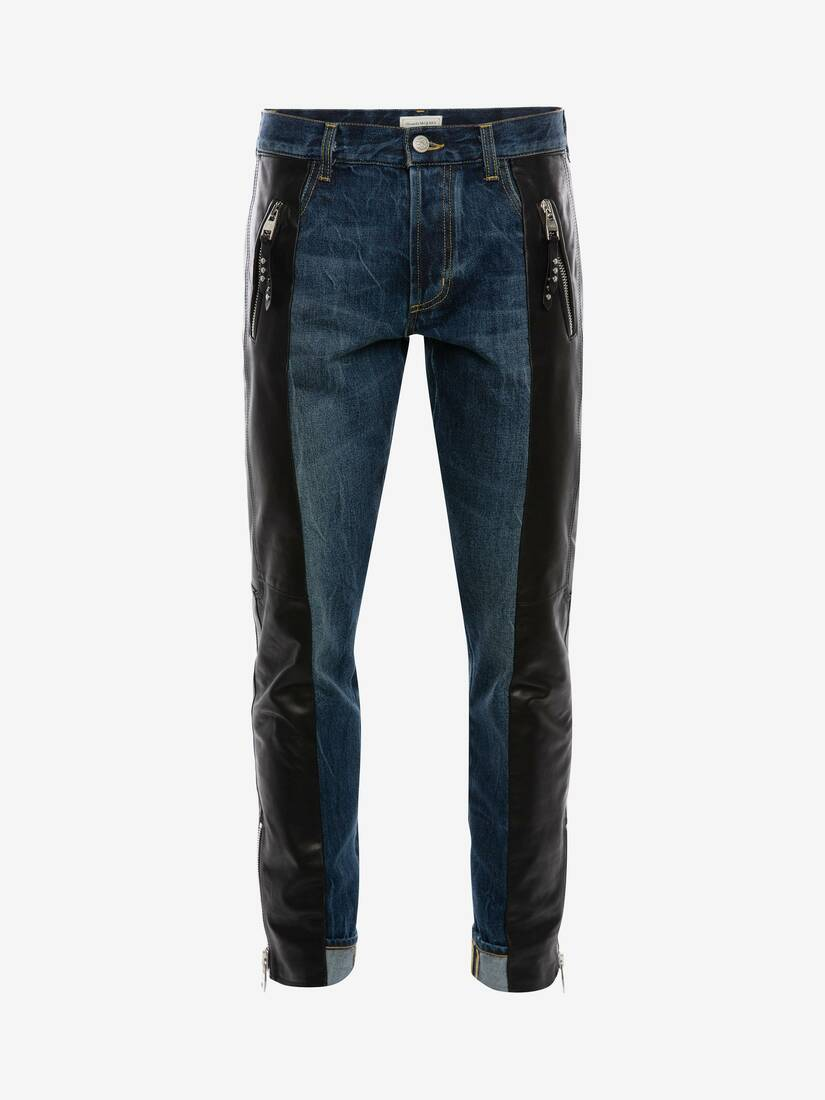 Display a large version of the product image 1 - Pantaloni Biker in Denim