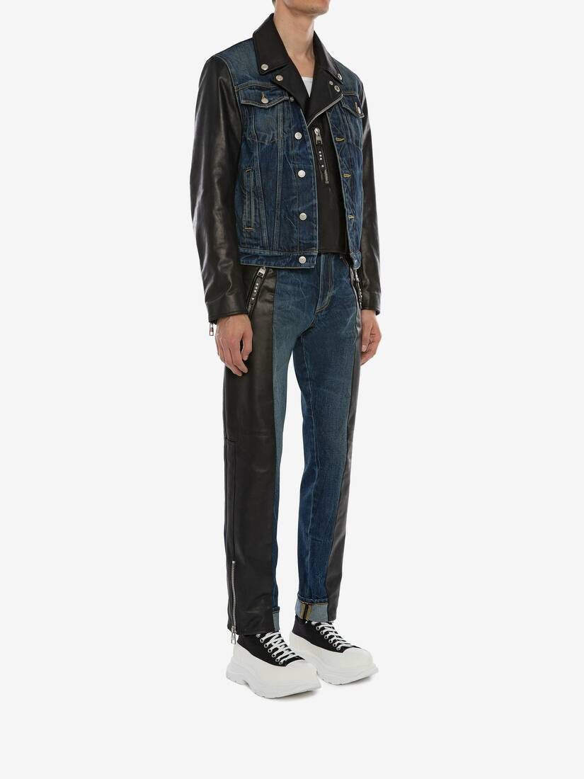 Display a large version of the product image 3 - Hybrid Denim Biker Jacket