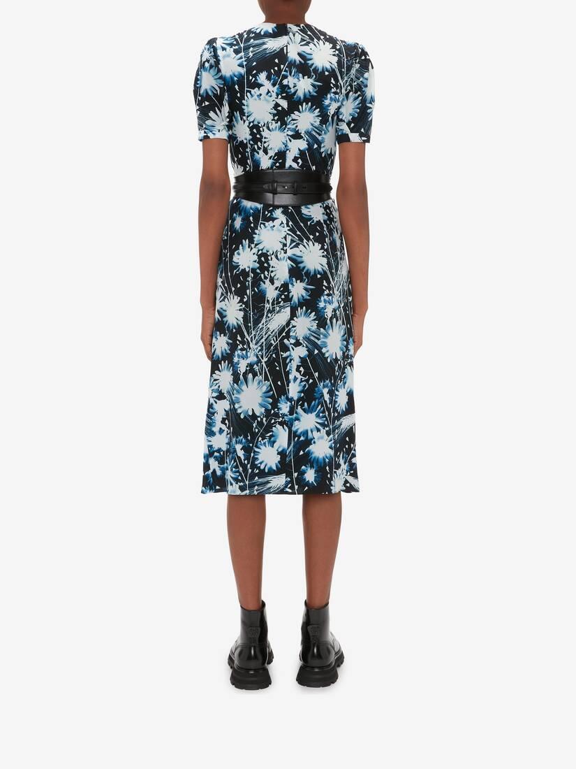 Solarized Floral Folded Drape Pencil Dress