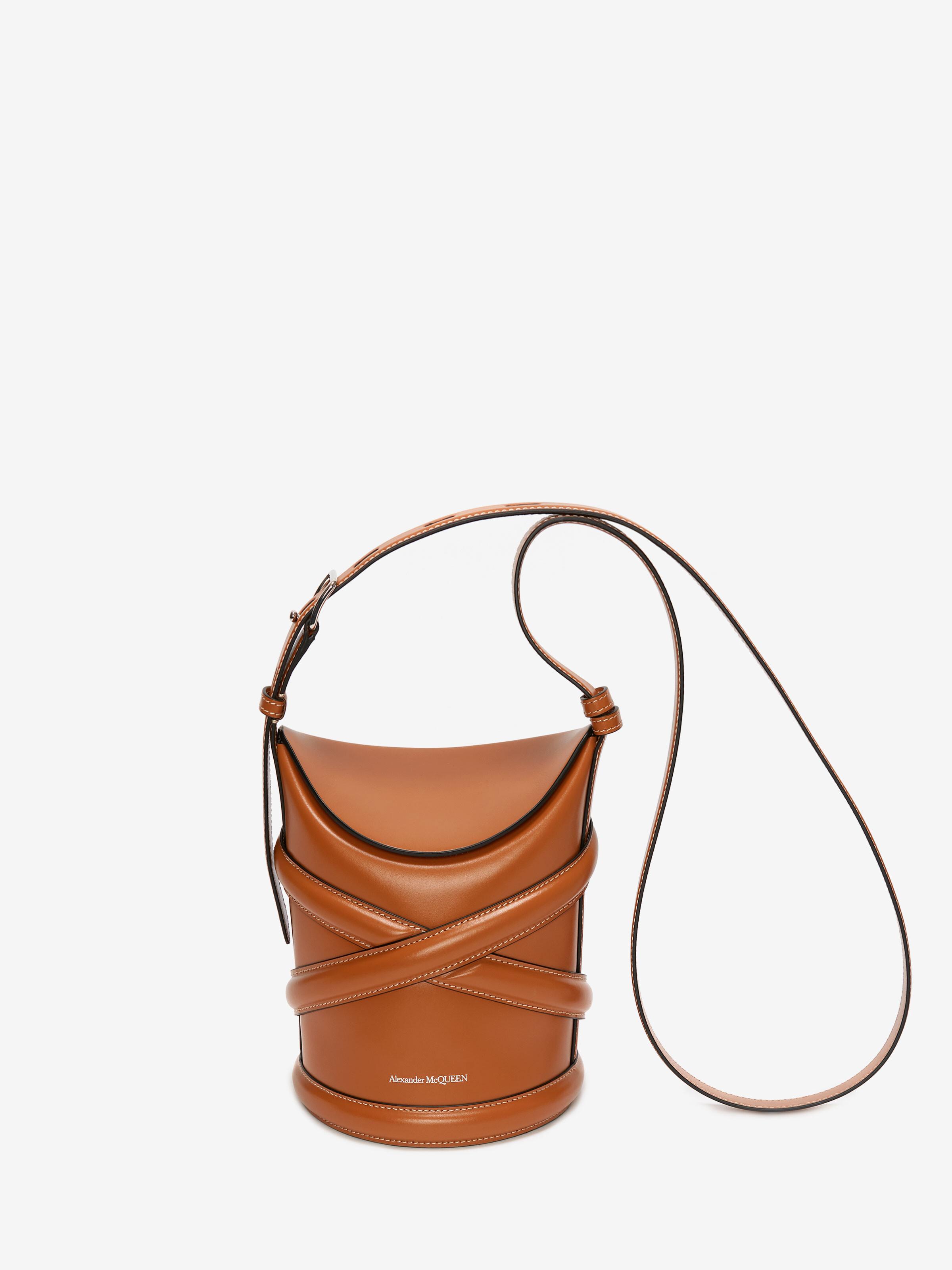 Alexander Mcqueen Brown The Curve Leather Bucket Bag