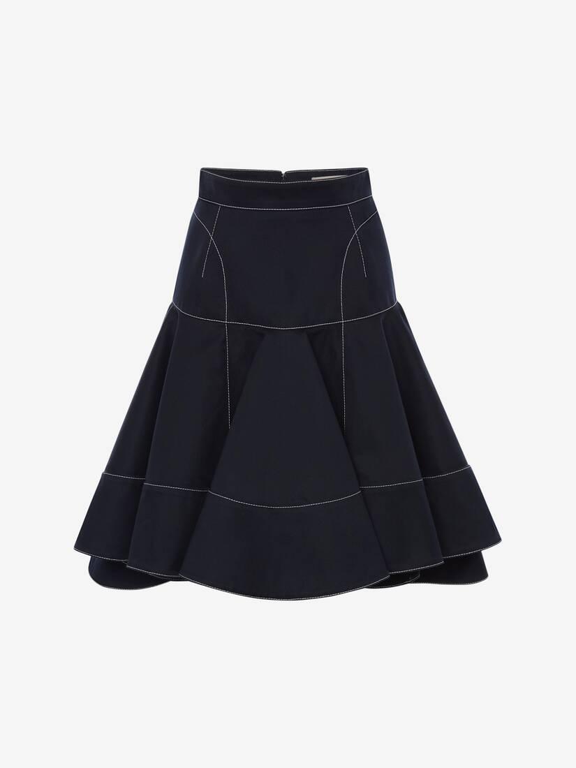 Cotton Gabardine Ruffle Mini Skirt