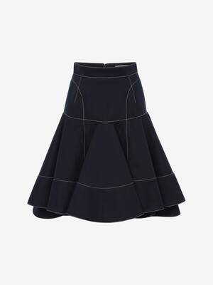 Cotton Gabardine Ruffle Mini Skirt