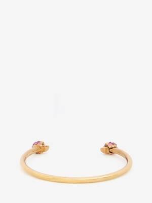 Schmales Armband mit Twin Skull und Schmucksteinen