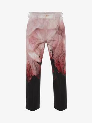 Flower Print Baggy Cotton Gabardine Trouser