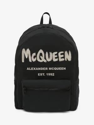 Oversized-Rucksack mit McQueen-Graffiti-Motiv