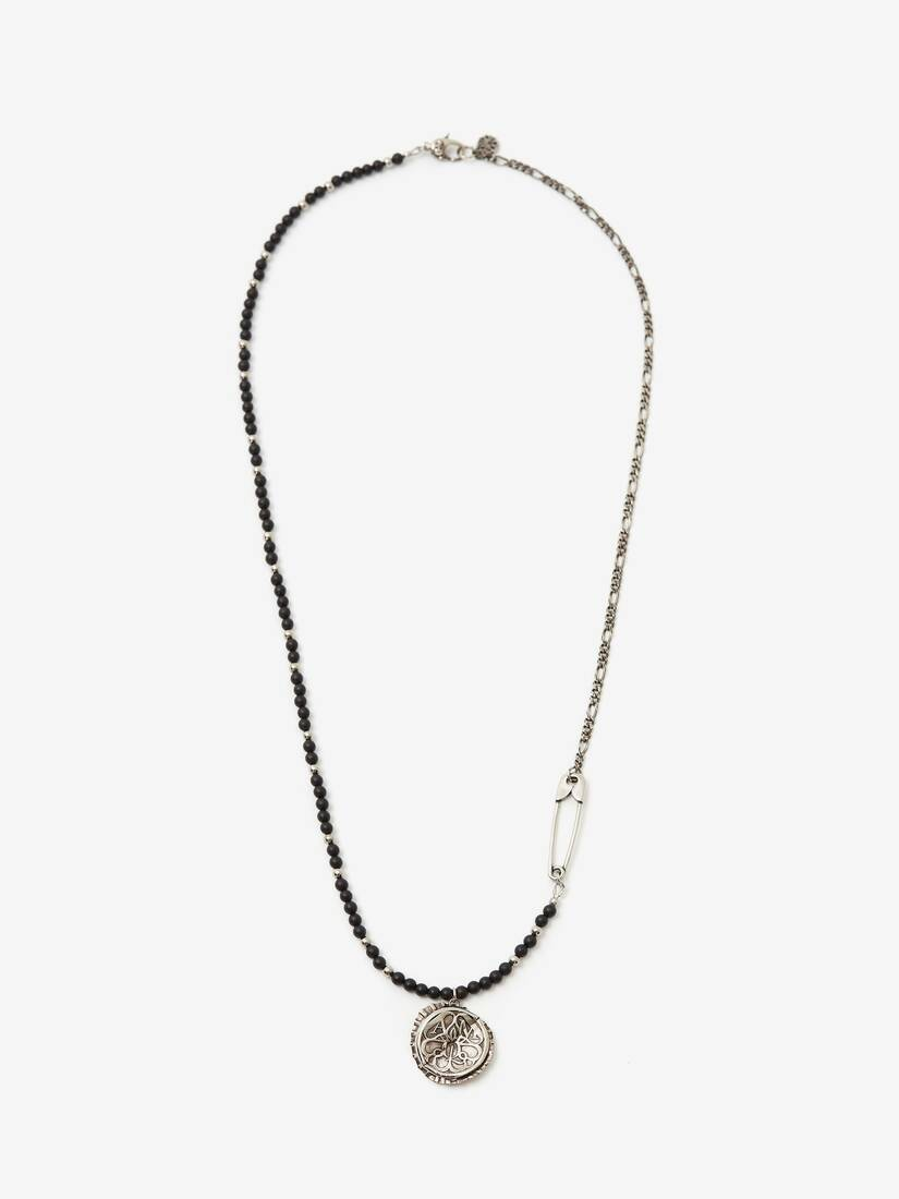 Collier long Beads and Seal Bottle Cap