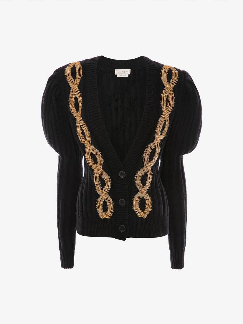 Metal Cable Embroidered Knit Cardigan