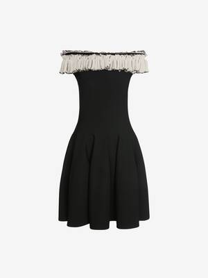 Off-The-Shoulder Ruffles Knit Mini Dress