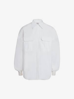 Dropped Shoulder Poplin Military Shirt