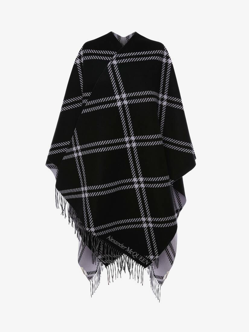 Display a large version of the product image 3 - Welsh Check Wool Jacquard Cape