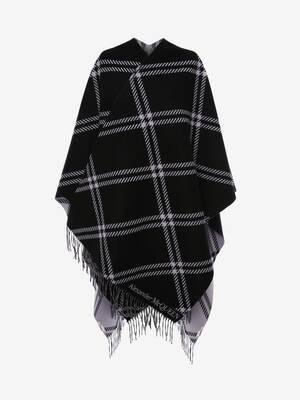 Cape en jacquard de laine à carreaux gallois