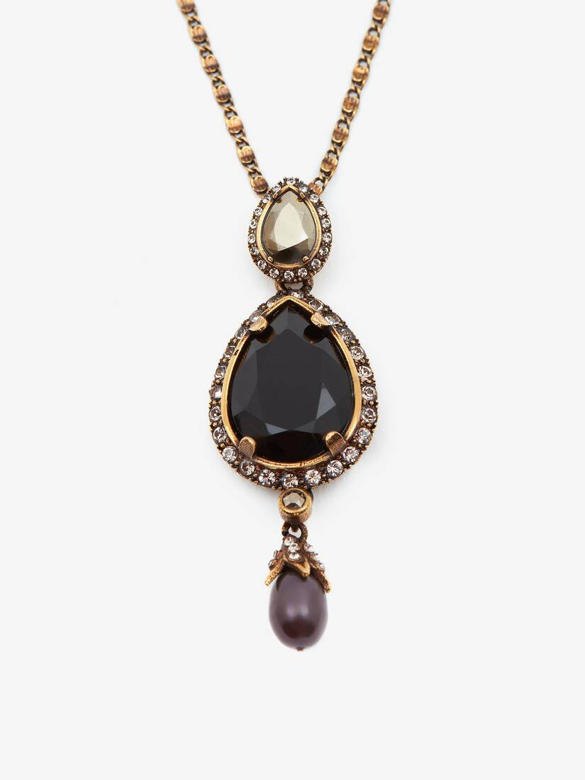 Display a large version of the product image 2 - Long Necklace with Jewelled Droplet Pendant