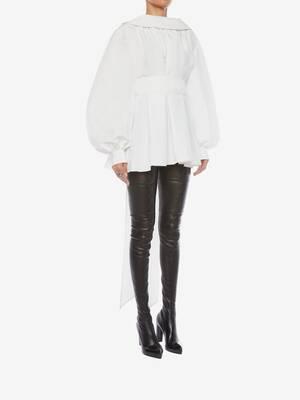 Cotton Silk Poet Sleeve Top