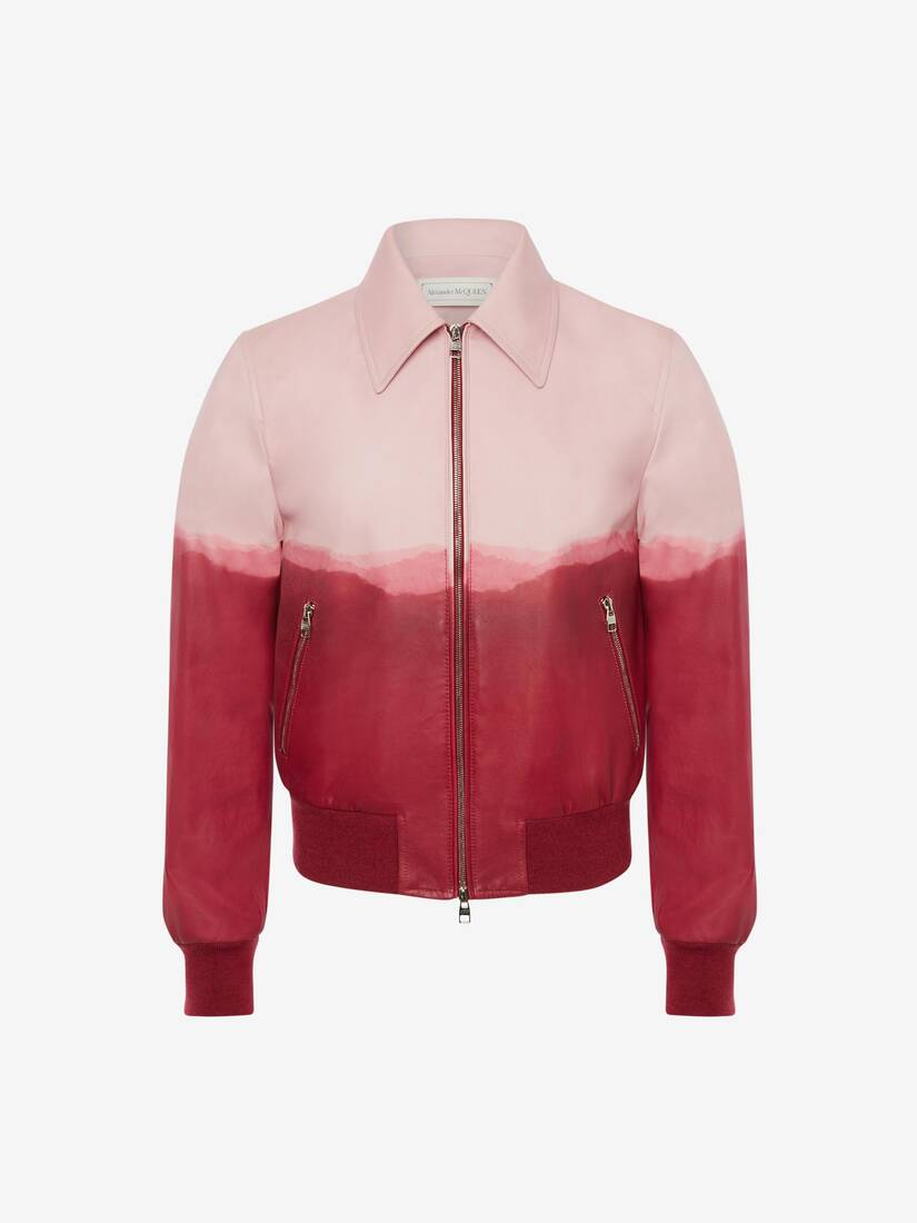 Dip Dye Leather Printed Bomber Jacket