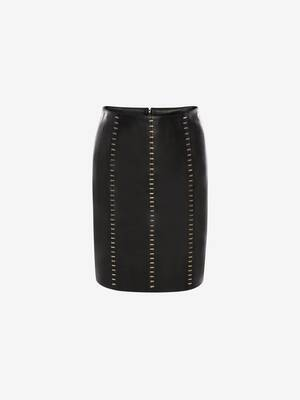 Stapled Leather Mini Skirt