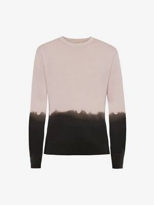 Dip Dye Printed Crew Neck Jumper