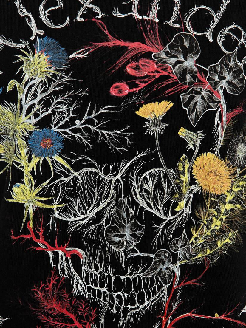 Display a large version of the product image 5 - Glowing Botanical Skull T-Shirt