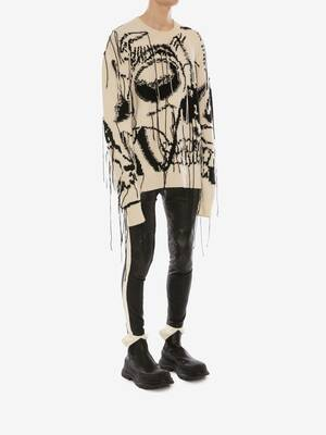 Maglione Skull in cashmere con motivo intarsiato oversize