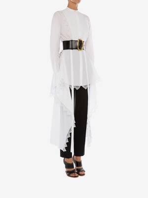 Asymmetric Cotton Lace Shirt